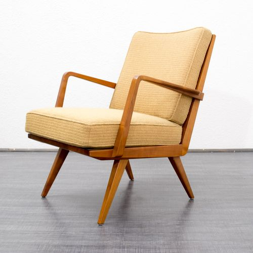 cherrywood armchair from knoll antimott 1950s for sale at pamono. Black Bedroom Furniture Sets. Home Design Ideas
