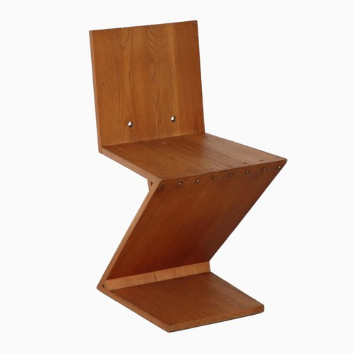 zig zag chair by gerrit rietveld for sale at pamono. Black Bedroom Furniture Sets. Home Design Ideas