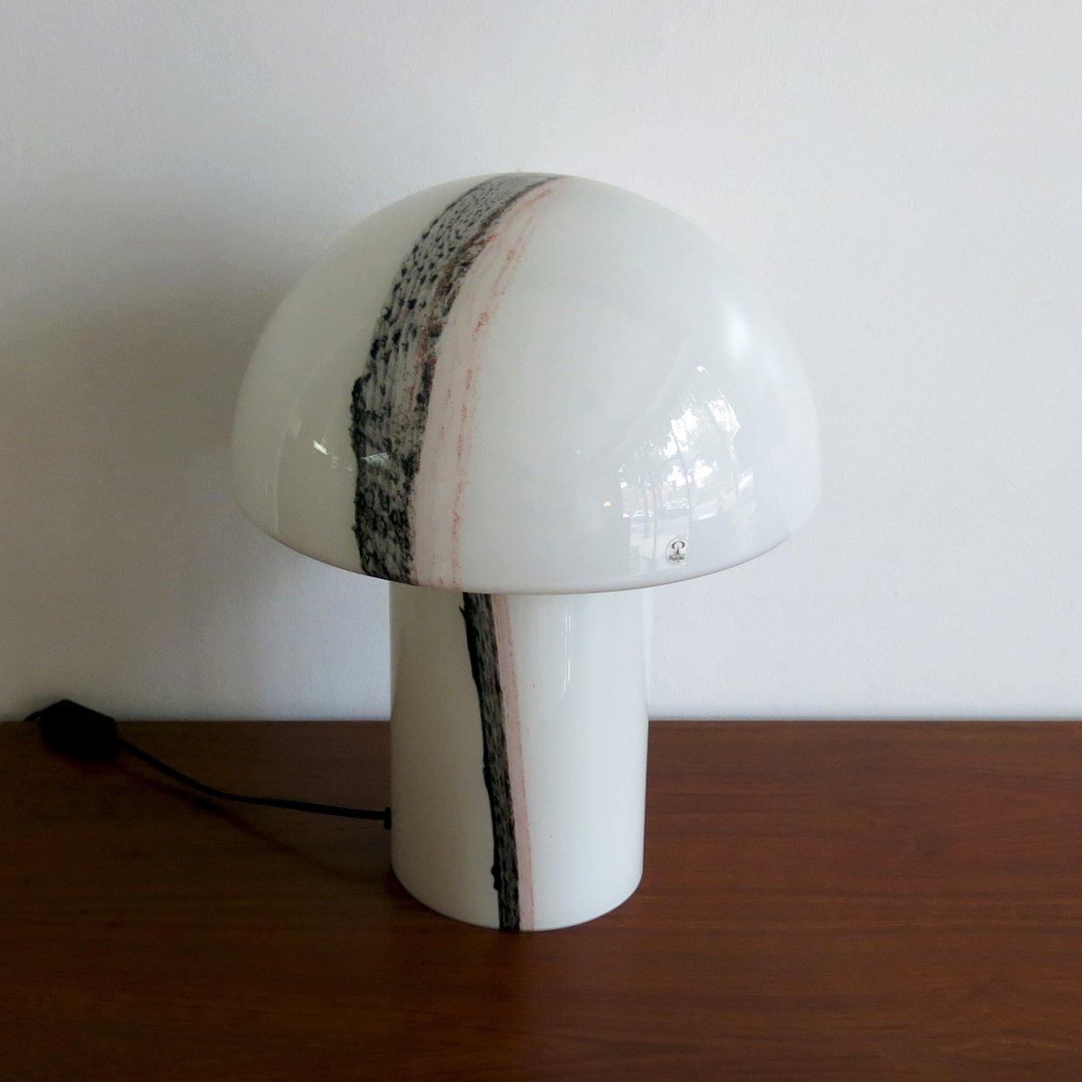 pilz tischlampe aus glas von peil putzler bei pamono kaufen. Black Bedroom Furniture Sets. Home Design Ideas
