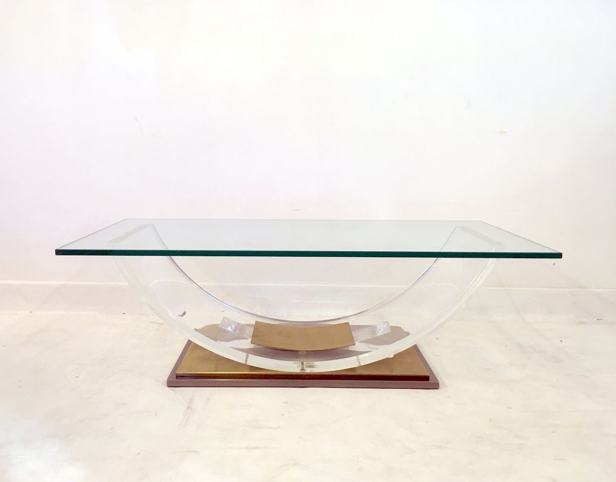 vintage french lucite and brass coffee table for sale at pamono