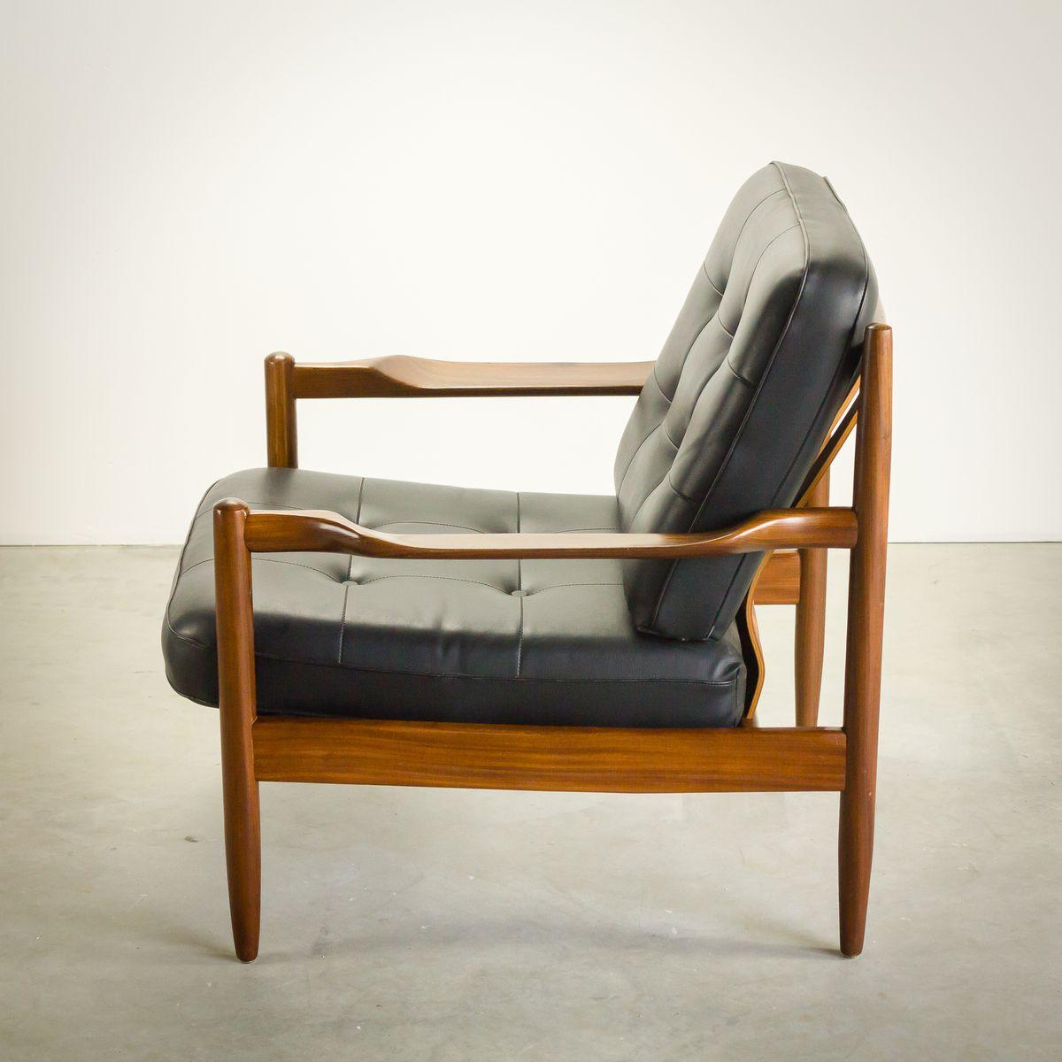 Lounge armlehnstuhl aus teak kunstleder von grete jalk for Armlehnstuhl kunstleder