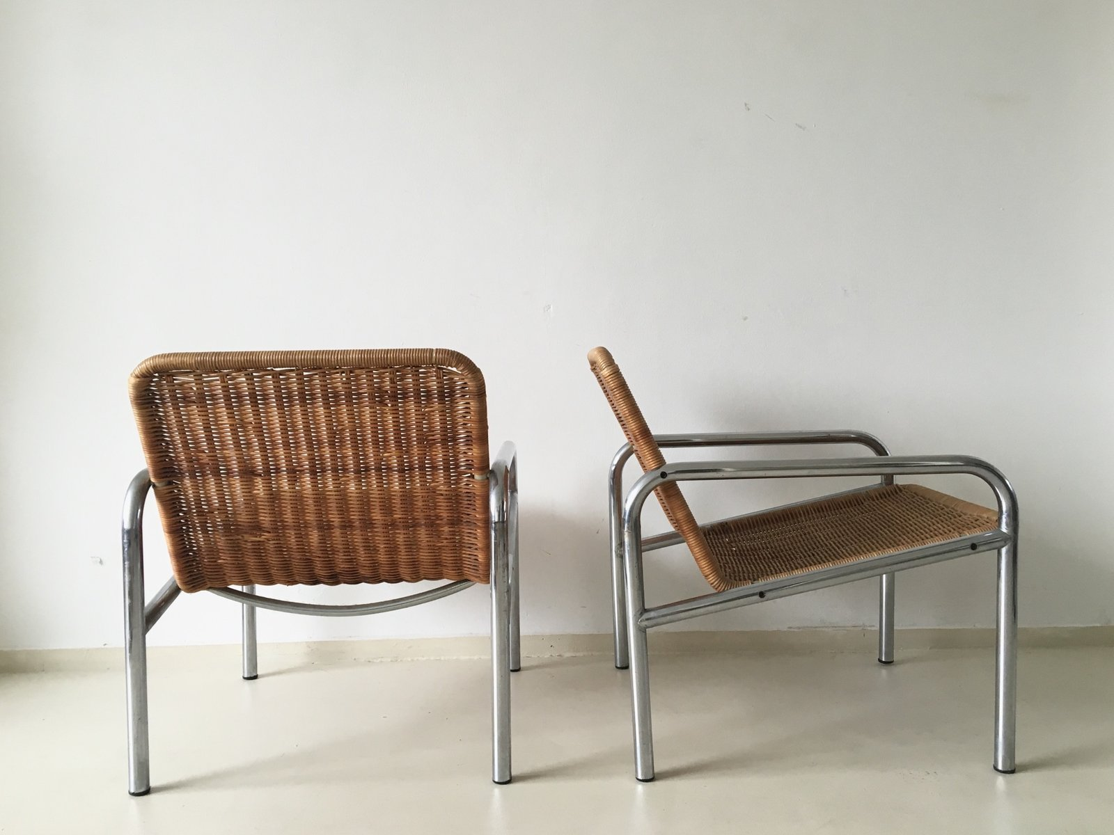 Captivating Vintage Wicker And Metal Lounge Chair, 1960s