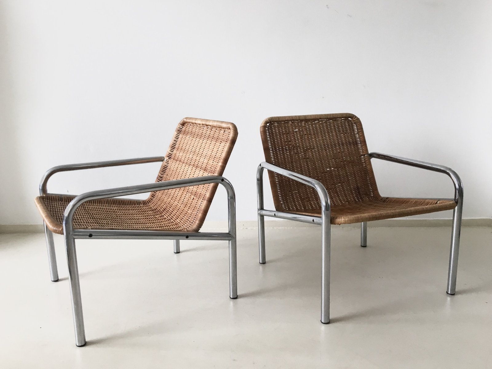 Vintage Wicker and Metal Lounge Chair 1960s for sale at Pamono
