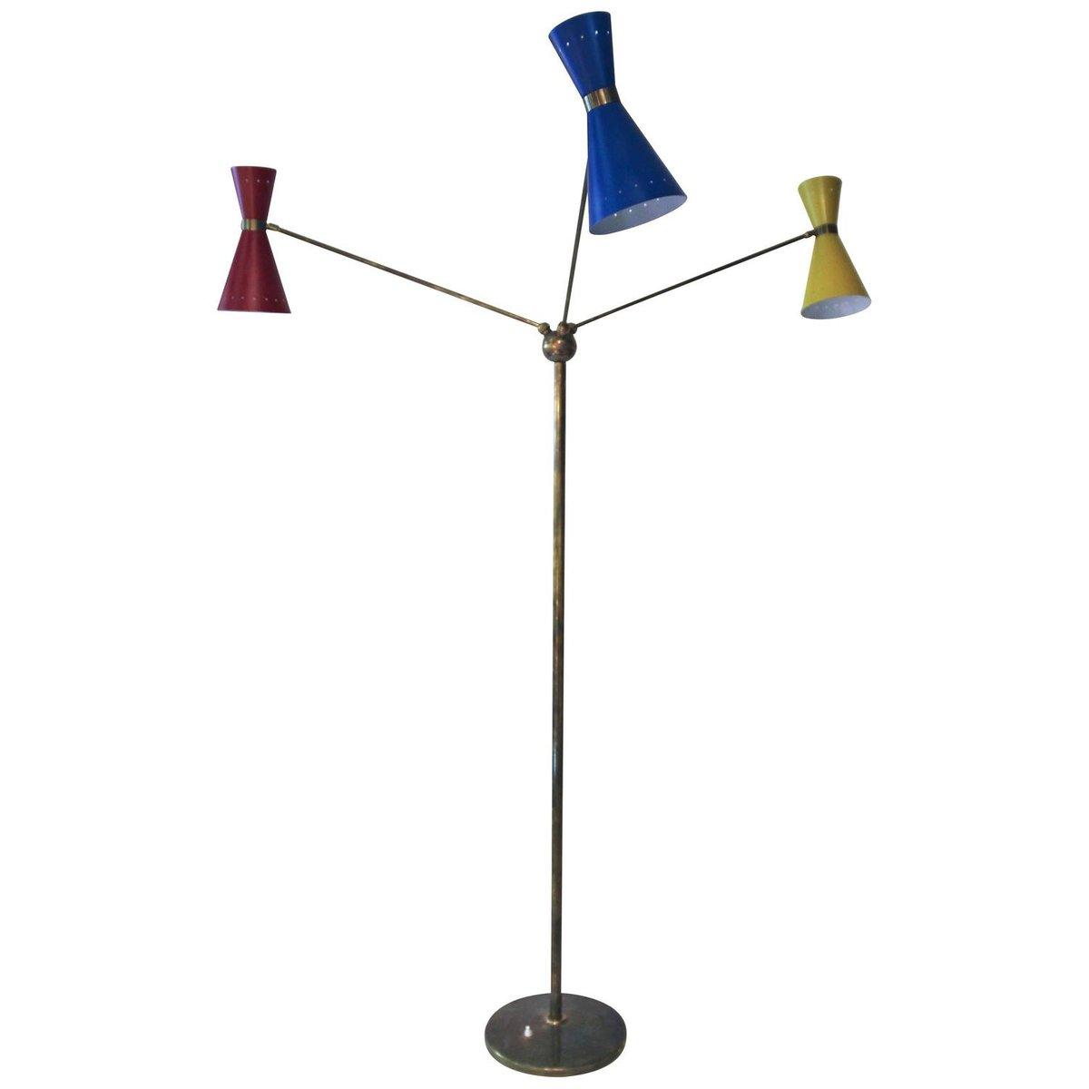 Three Bulb Floor Lamp: Italian Triennale Brass and Metal Floor Lamp with Three Lights, 1960s for  sale at Pamono,Lighting