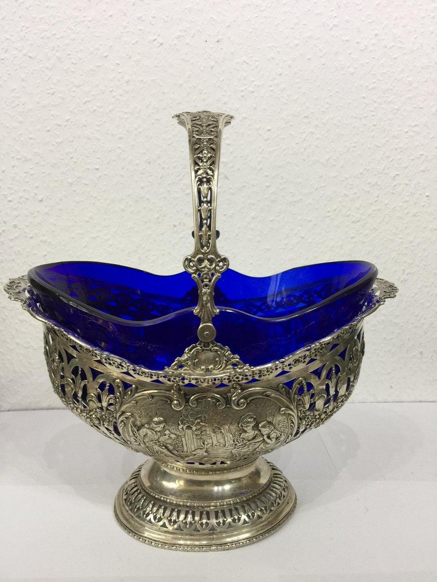 corbeille fruits antique en argent et verre bleu de cobalt en vente sur pamono. Black Bedroom Furniture Sets. Home Design Ideas