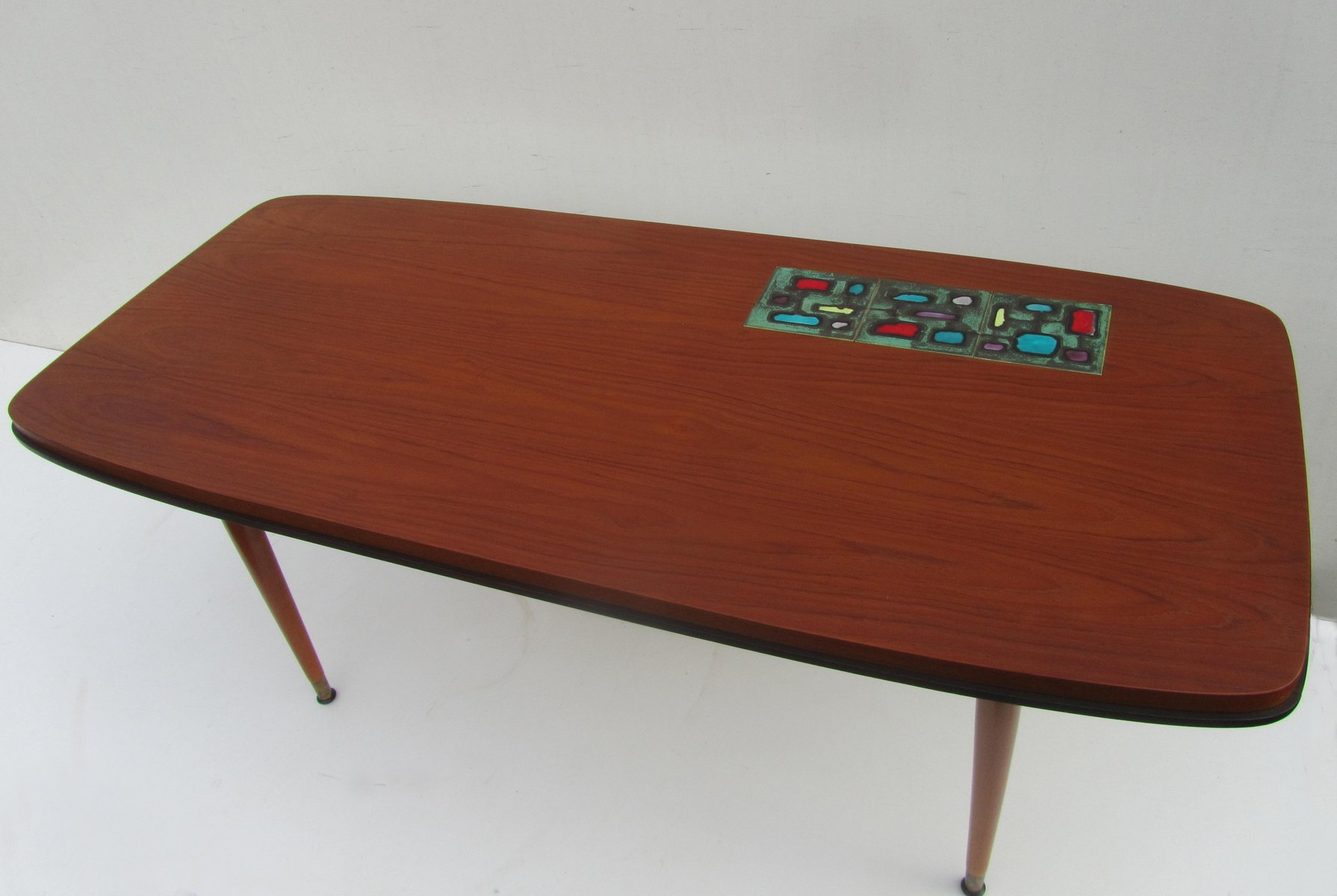 Vintage Teak Coffee Table with Ceramic Tile 1950s for sale at Pamono