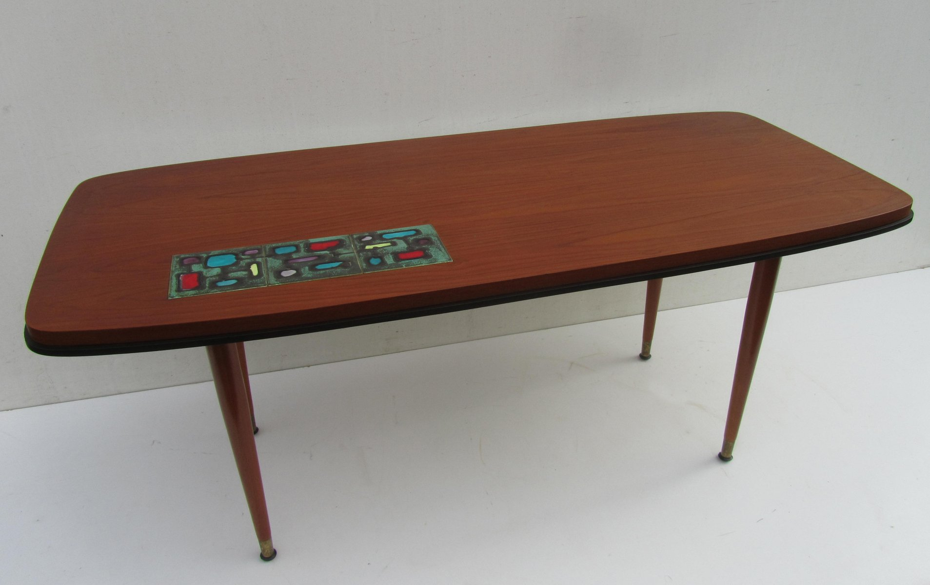 vintage teak coffee table with ceramic tile 1950s for. Black Bedroom Furniture Sets. Home Design Ideas