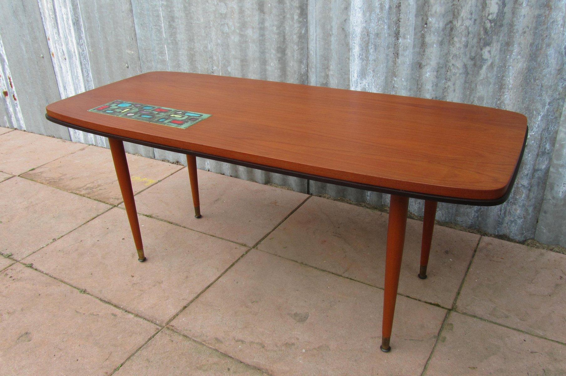 Vintage teak coffee table with ceramic tile 1950s for sale at pamono vintage teak coffee table with ceramic tile 1950s geotapseo Choice Image