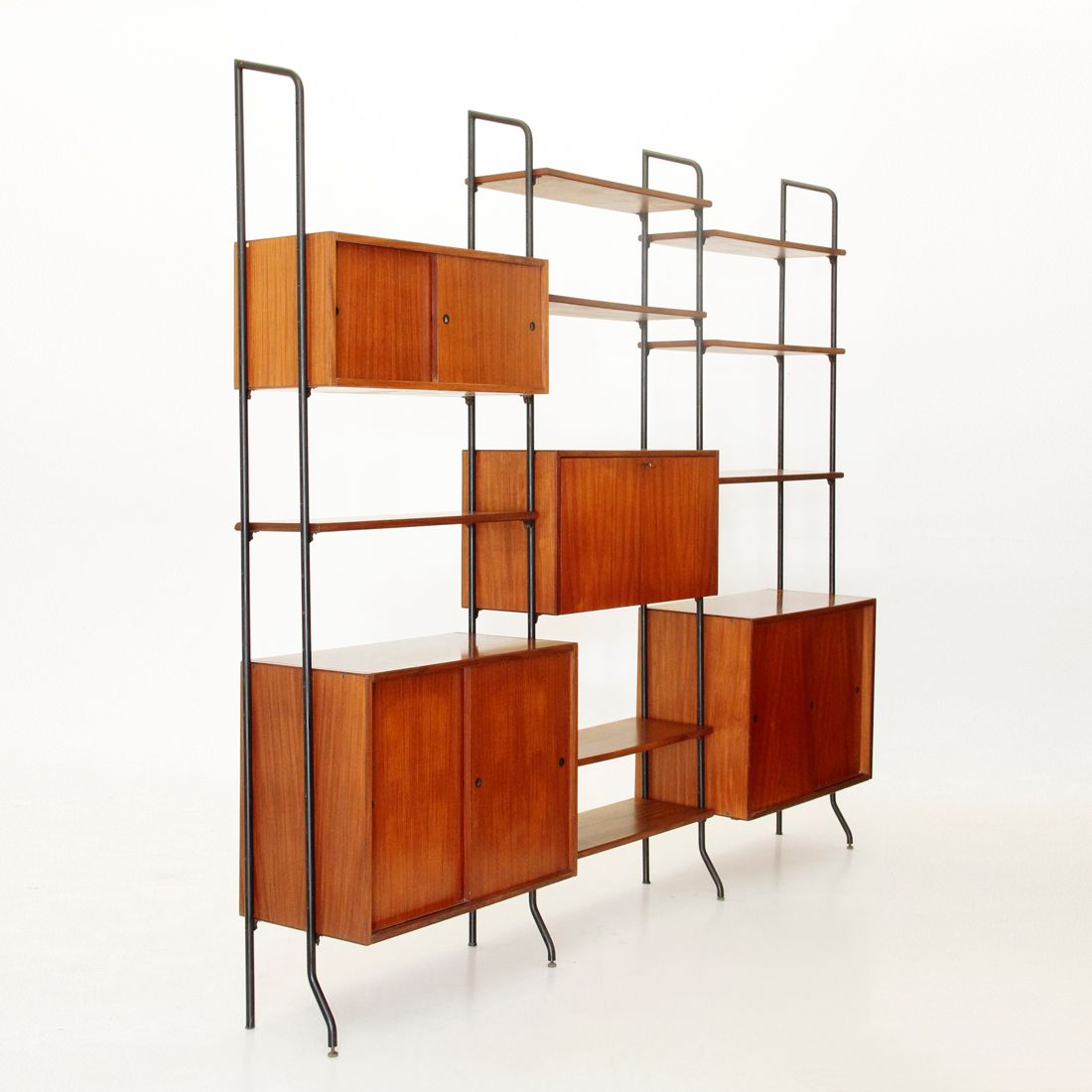 biblioth que vintage en fer et teck italie 1960s en vente sur pamono. Black Bedroom Furniture Sets. Home Design Ideas