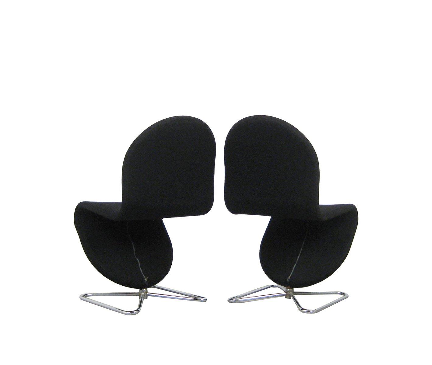 chaises de salon 1 2 3 par verner panton pour fritz hansen set de 4 en vente sur pamono. Black Bedroom Furniture Sets. Home Design Ideas