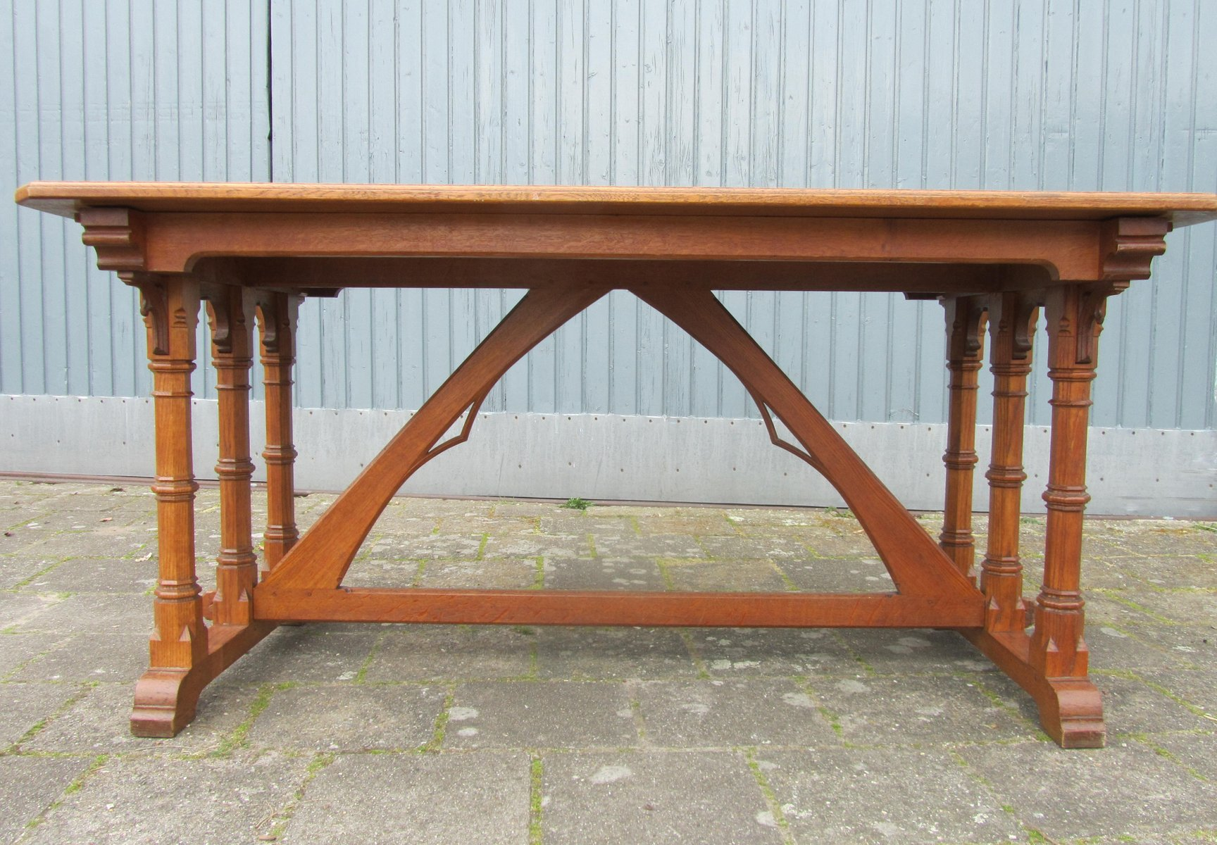 arts crafts gothic revival oak desk 1900s for sale at pamono