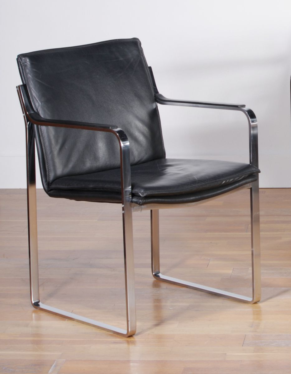 german black leather dining chairs with metal frames by