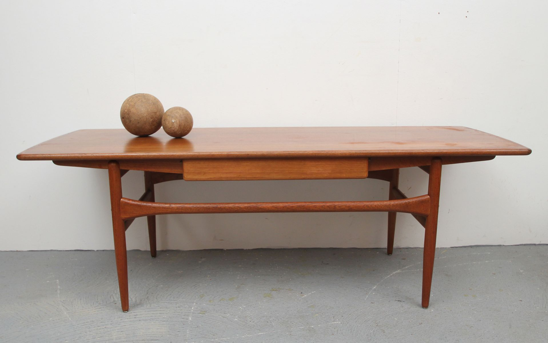 Danish Teak Coffee Table with Drawer 1960s for sale at Pamono