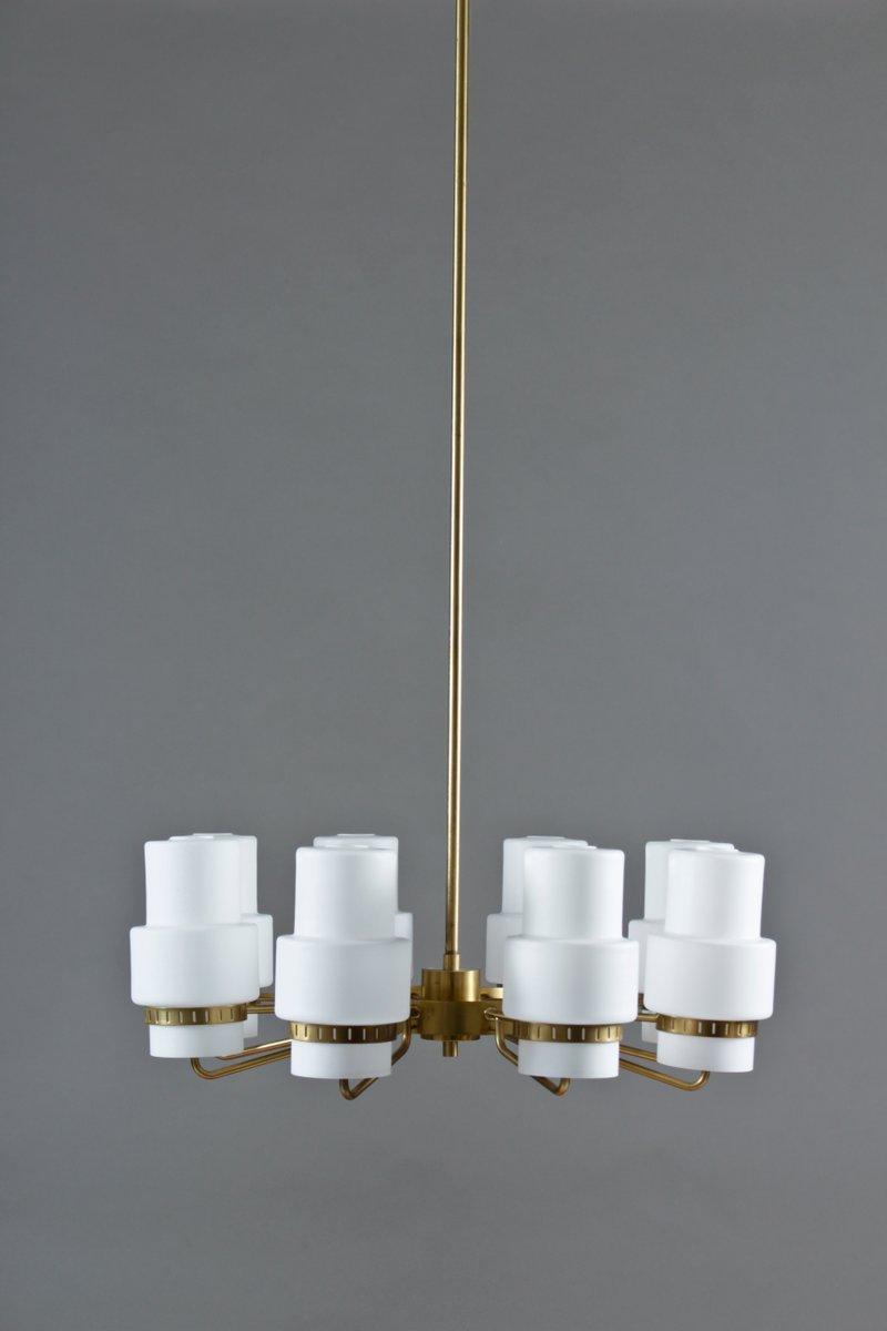 Vintage swedish brass frosted glass chandelier for sale at pamono vintage swedish brass frosted glass chandelier arubaitofo Gallery