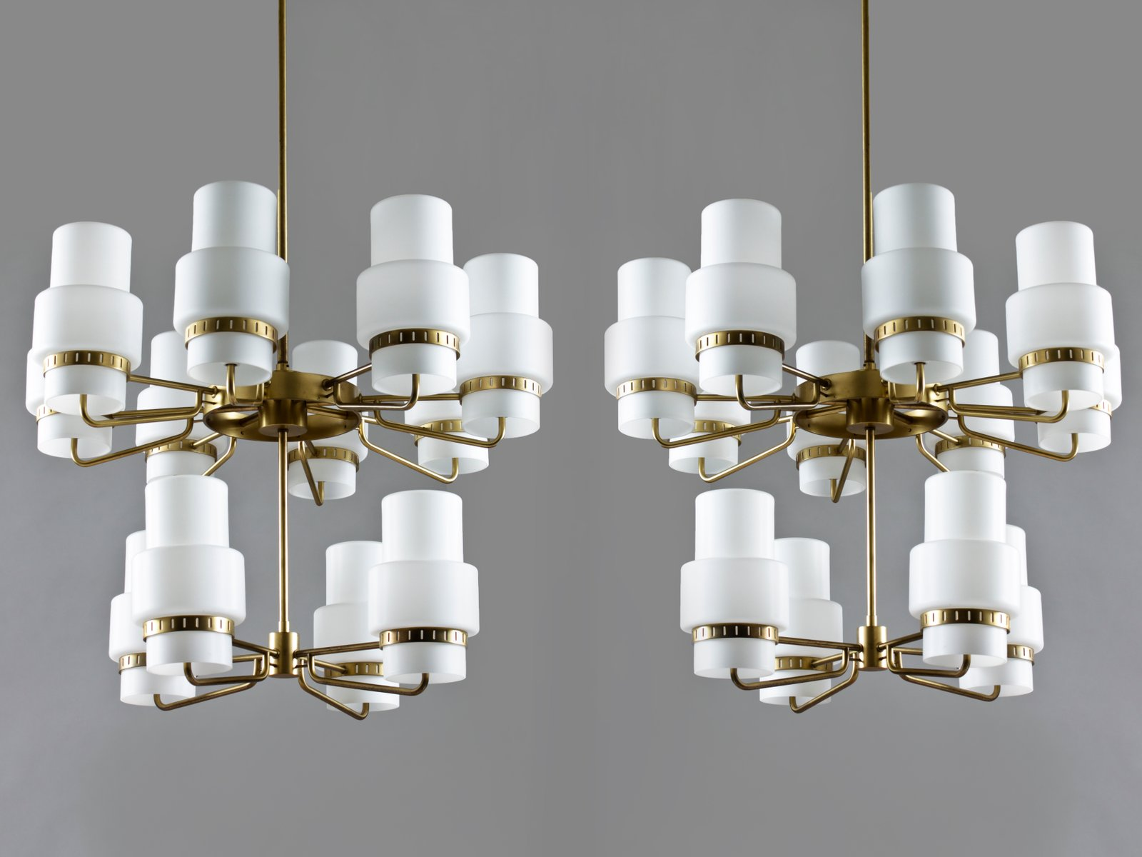 Large MidCentury Swedish Brass Opaline Glass Chandelier for – Brass and Glass Chandelier