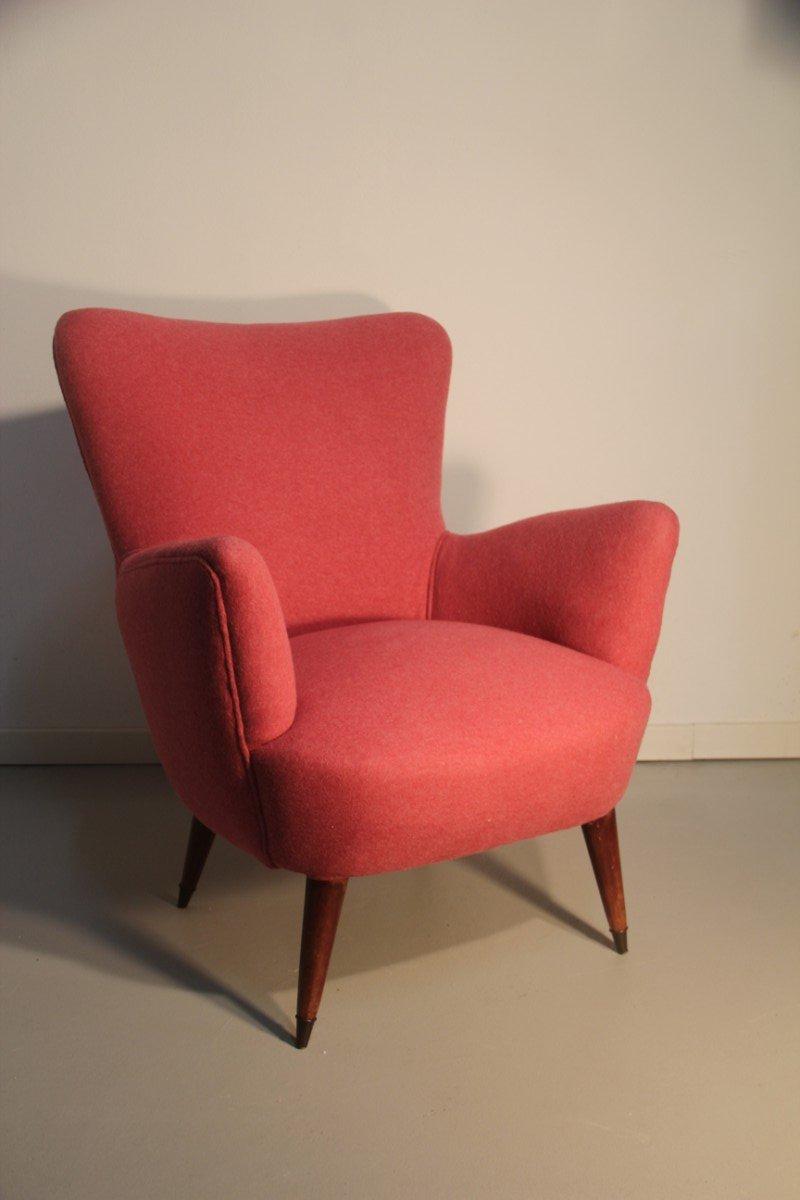 Mid Century Italian Red Armchair, 1950s