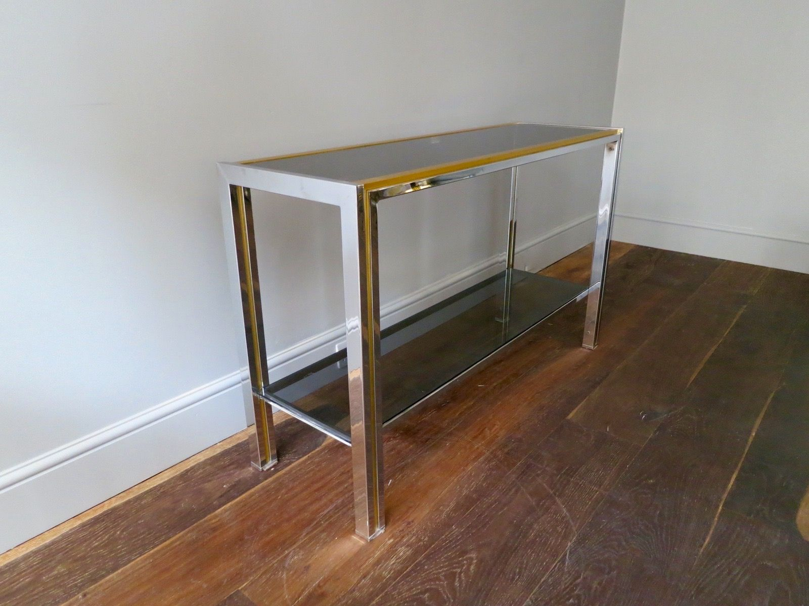 french brass and chrome console table s for sale at pamono - french brass and chrome console table s
