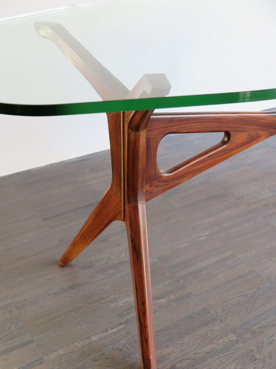 couchtisch mit achteckiger glasplatte 1950er bei pamono. Black Bedroom Furniture Sets. Home Design Ideas