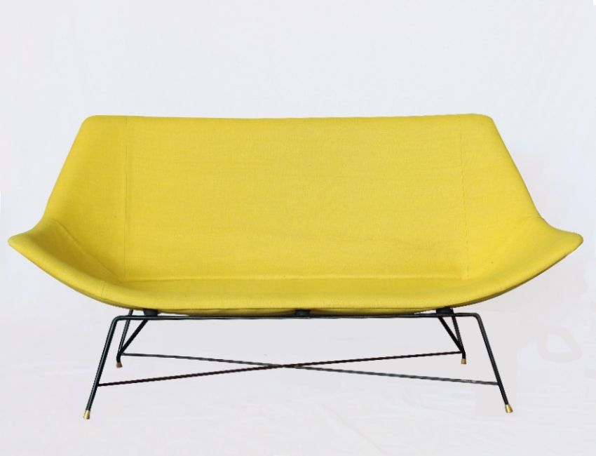 Italian Yellow Sofa By Augusto Bozzi 1958 For Saporiti