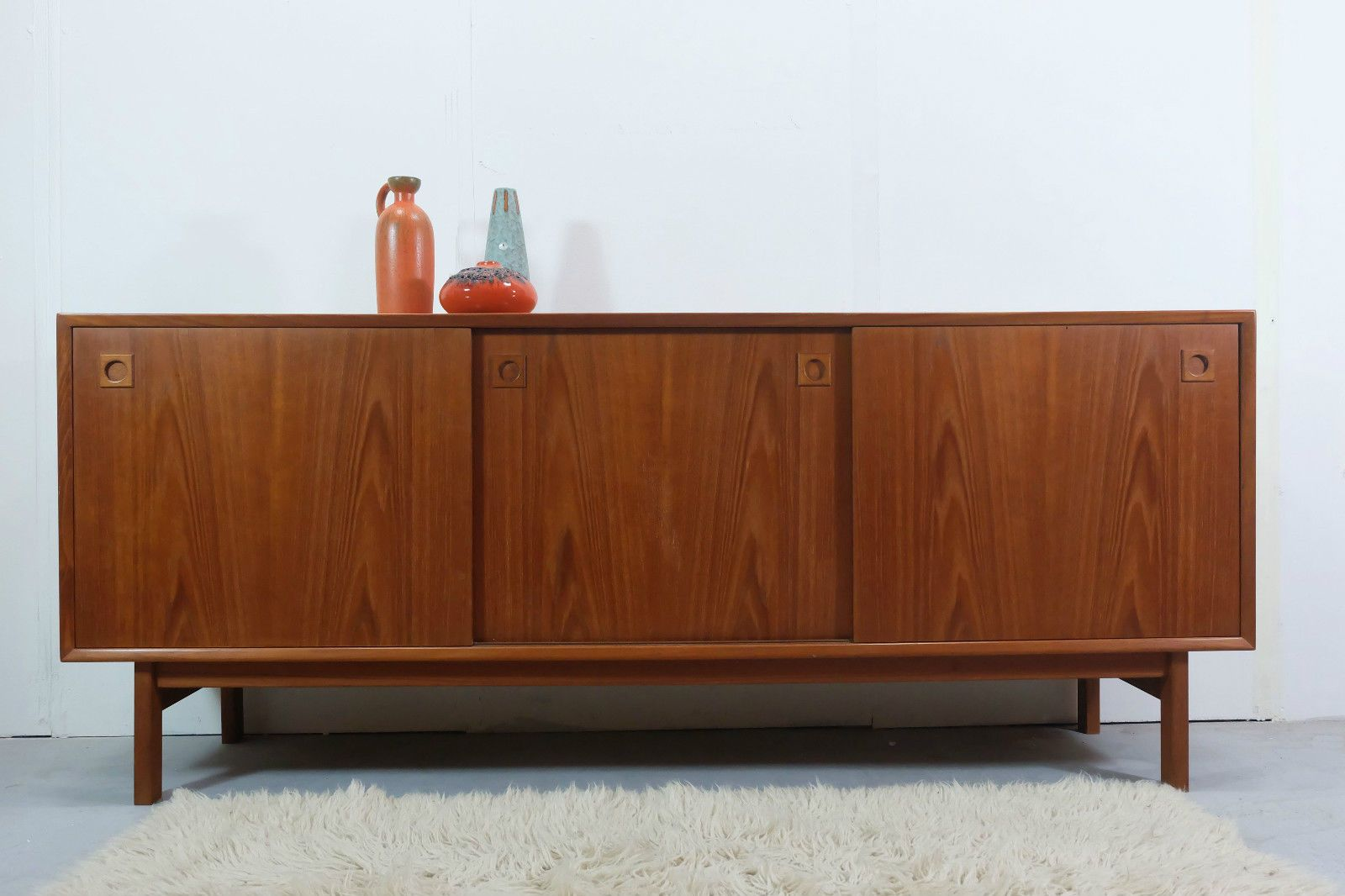 Scandinavian teak sideboard with 3 sliding doors for sale for Sideboard scandi