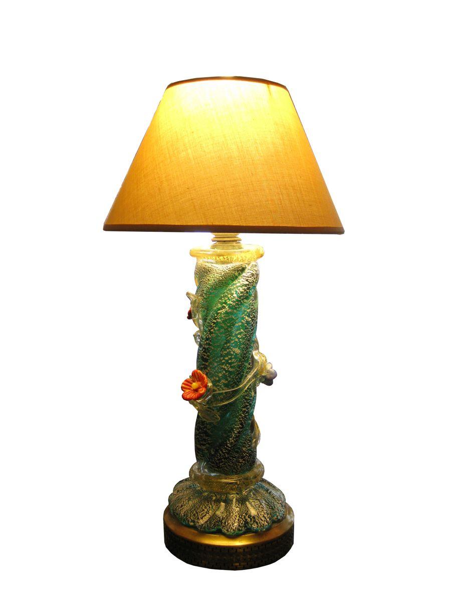 Italian Murano Glass Table Lamp, 1940s