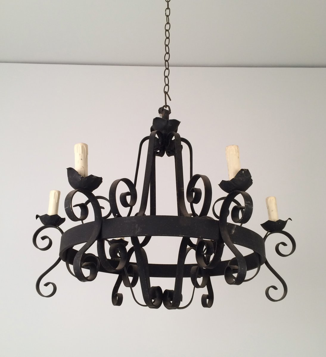 Eight arm wrought iron chandelier 1960s for sale at pamono - Classic wrought iron chandeliers adding more elegance in the room ...