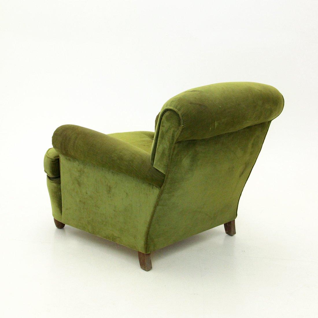 italienischer gr ner mid century sessel aus samt 1940er bei pamono kaufen. Black Bedroom Furniture Sets. Home Design Ideas