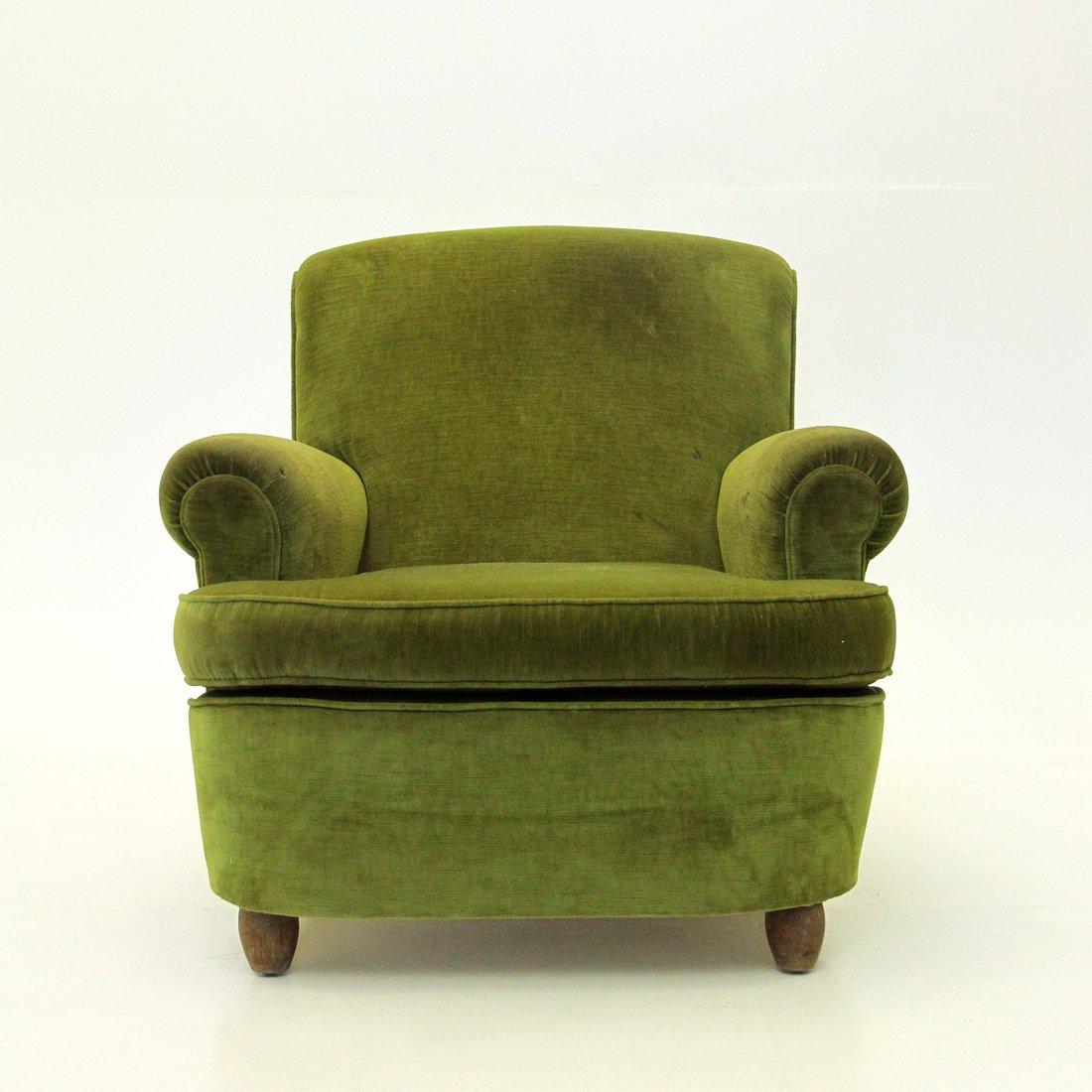 italienischer gr ner mid century sessel aus samt 1940er. Black Bedroom Furniture Sets. Home Design Ideas