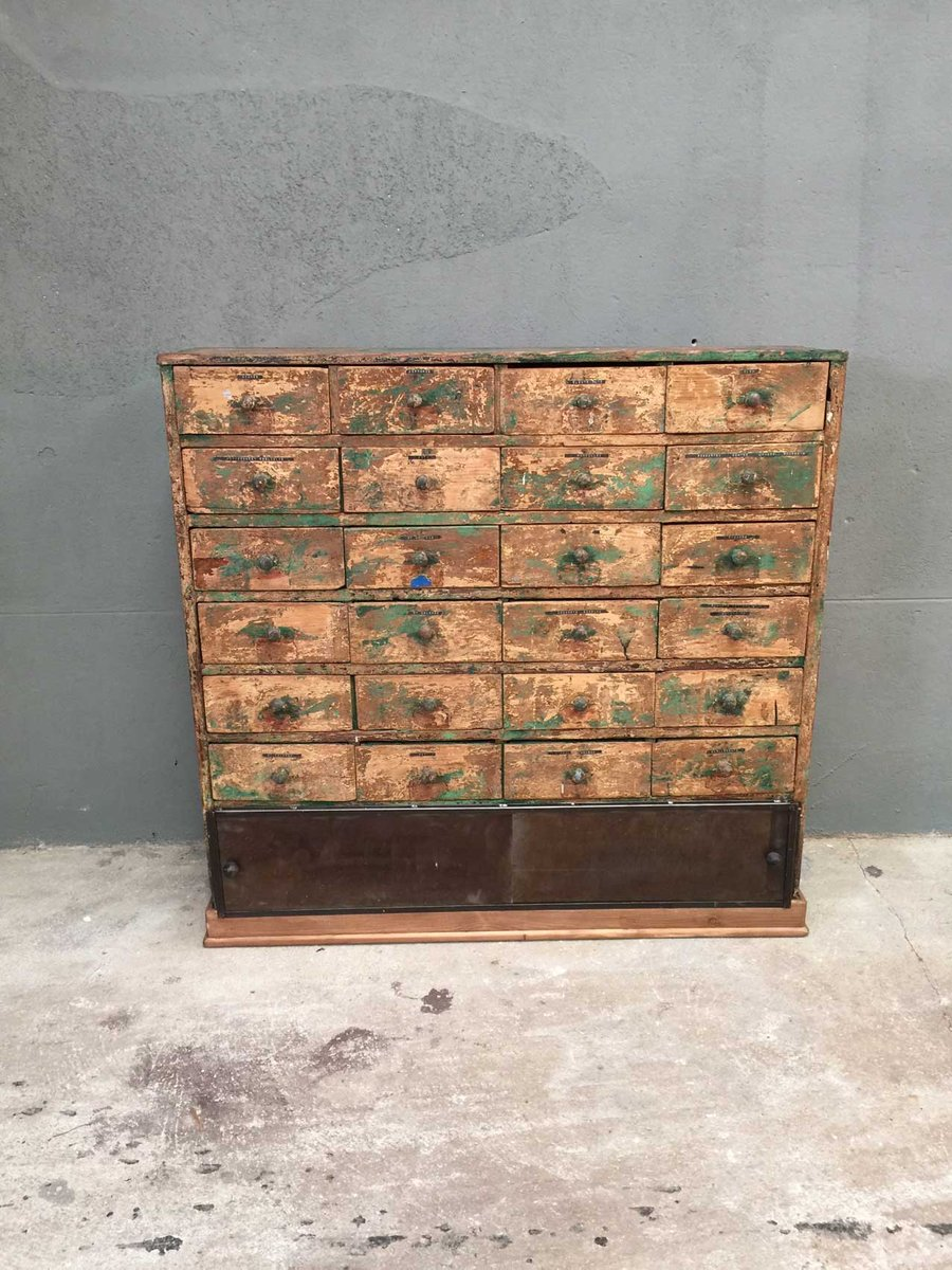Vintage workshop cabinet with 24 drawers for sale at pamono for Kitchen drawers for sale