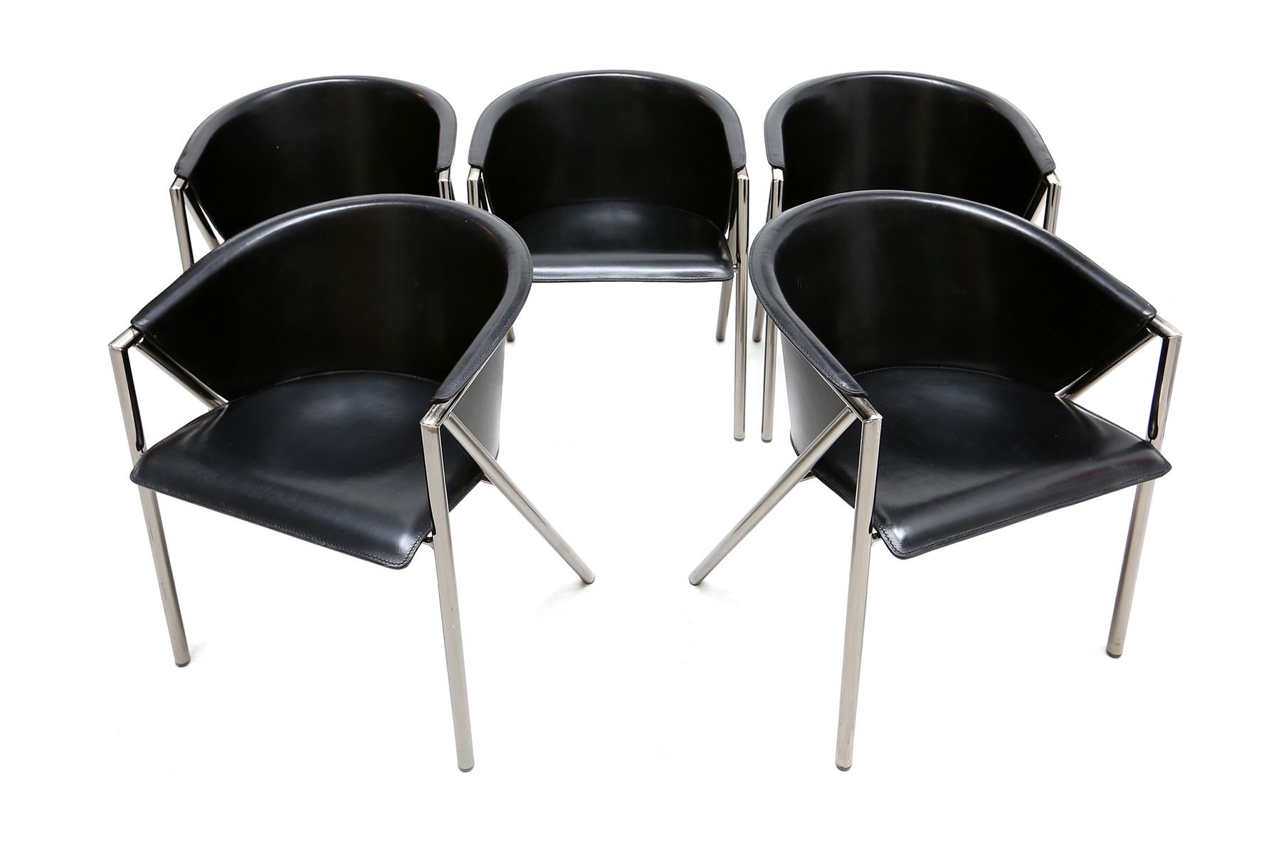 Black saddle leather chairs 1980s set of 5 for sale at for 1980s chair