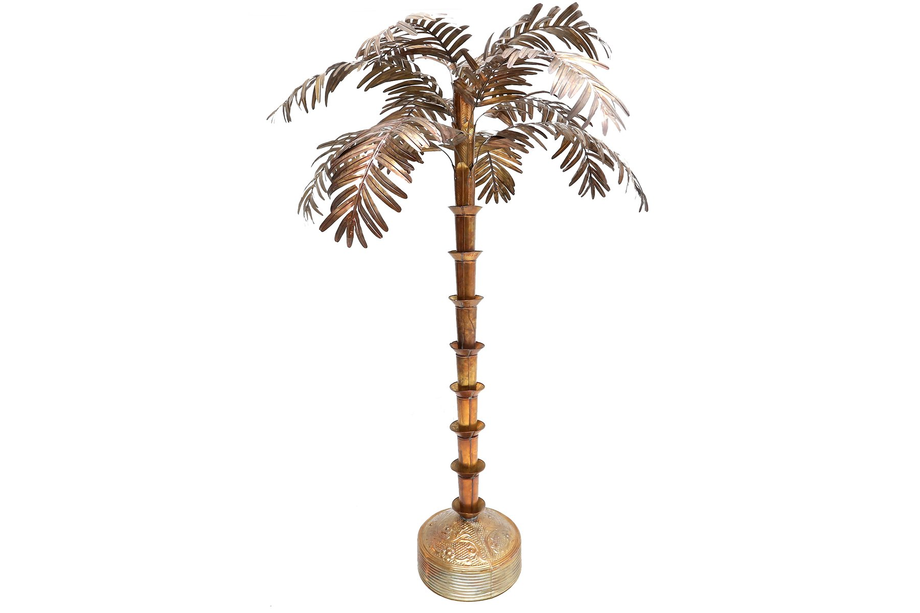 Brass Plated Palm Tree Floor Lamp 1980s For Sale At Pamono