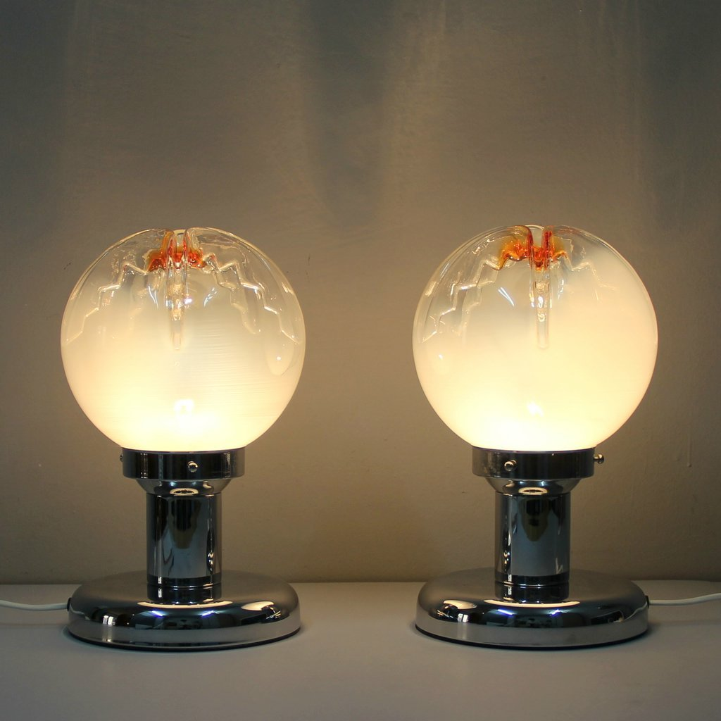 italian murano glass table lamp from mazzega for sale at pamono. Black Bedroom Furniture Sets. Home Design Ideas