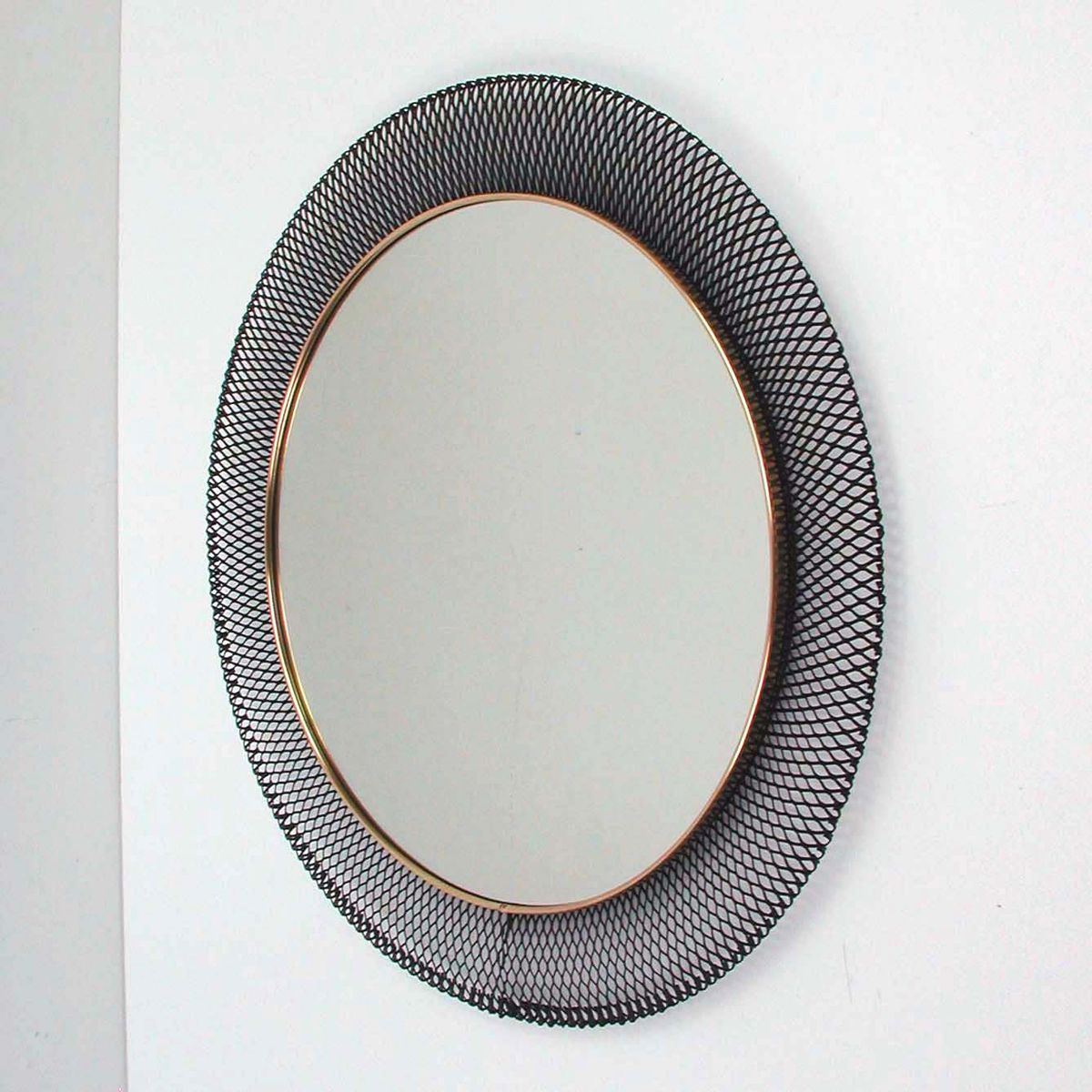 Vintage french round metal mirror 1950s for sale at pamono for Metal miroir