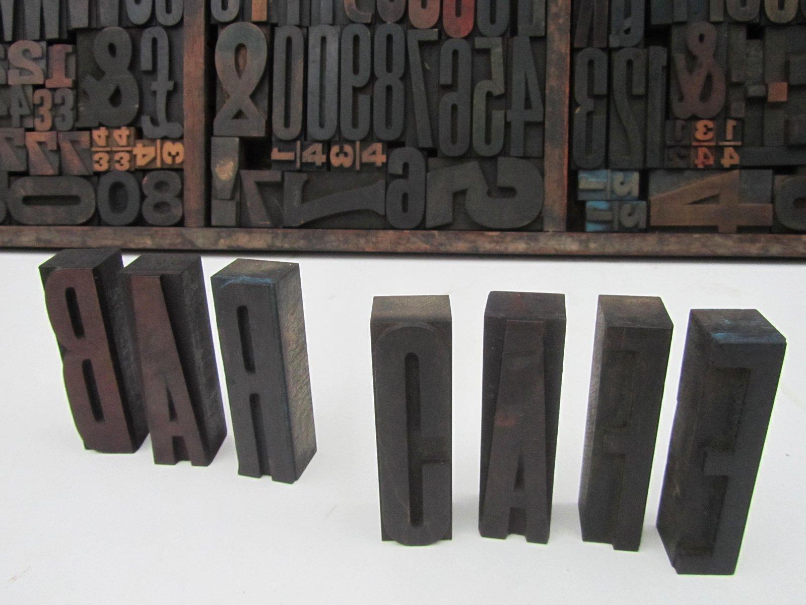 industrial vintage wooden letters numbers printing With wooden letters and numbers for sale