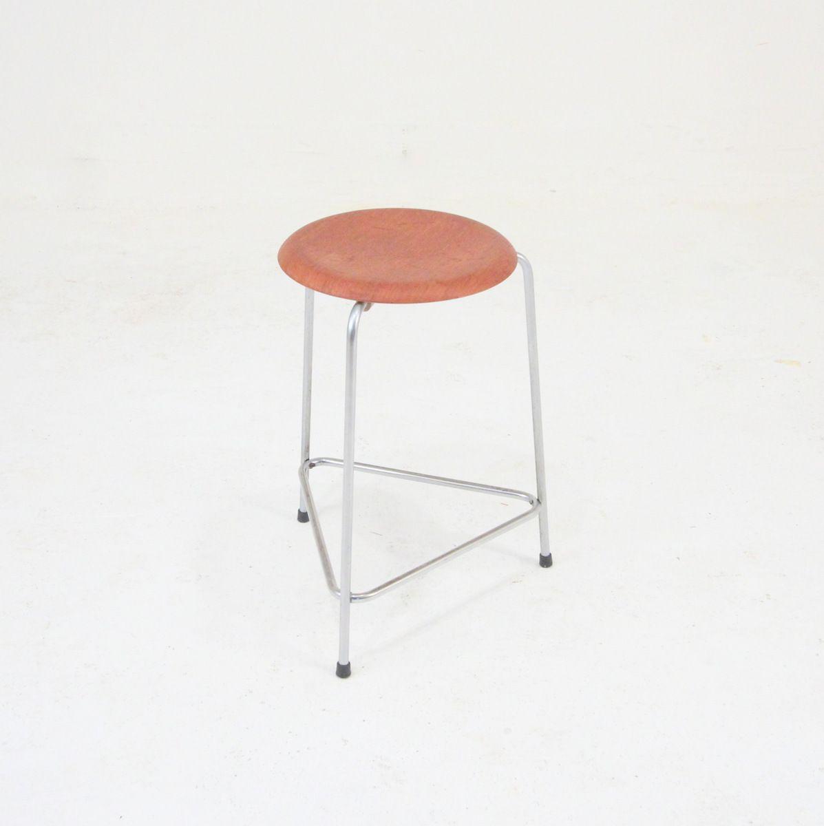 hocker aus teak und chrom von arne jacobsen f r fritz hansen 1950 bei pamono kaufen. Black Bedroom Furniture Sets. Home Design Ideas