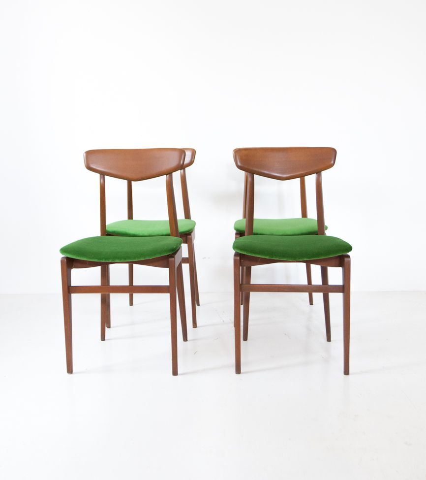 Swedish Velvet Dining Chairs 1950s Set Of 4 For Sale At Pamono