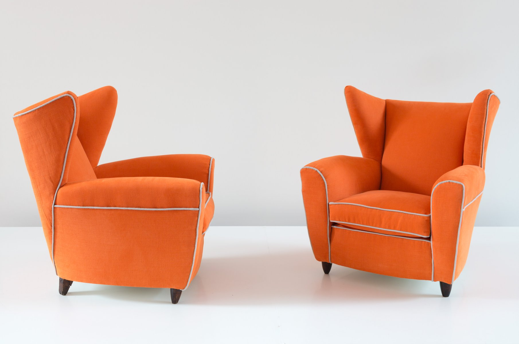 Orange Wingback Armchairs by Melchiorre Bega Set of 2 for sale at