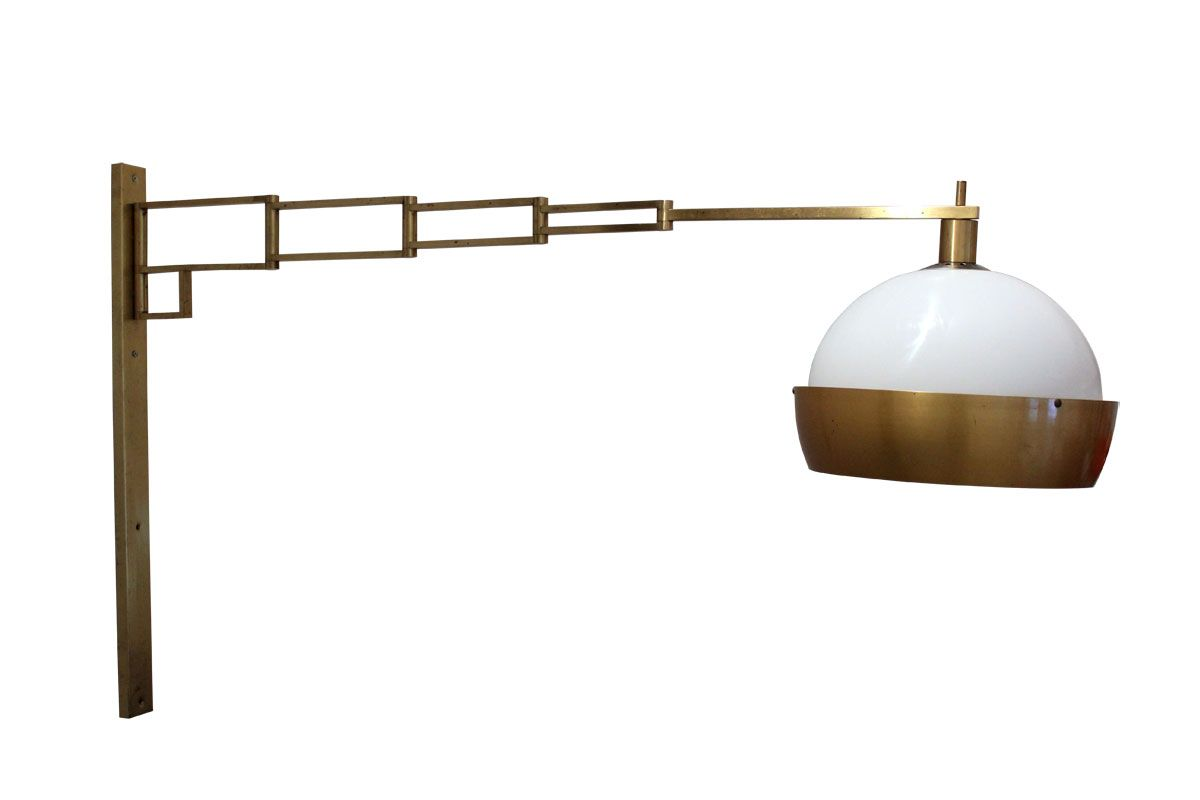 Wall Mounted Extendable Lamp : Brass Extendable & Adjustable Wall Lamp from Reggiani, 1960s for sale at Pamono