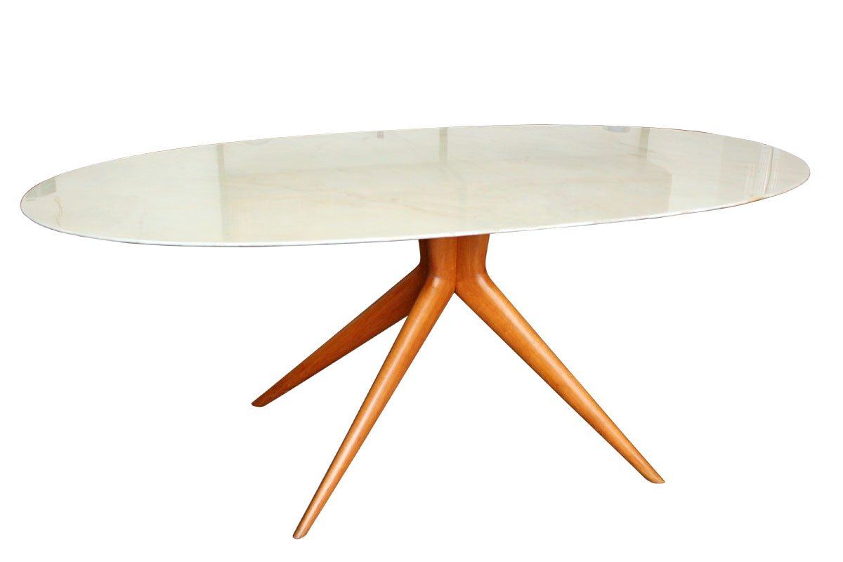 Table de salle manger ovale en marbre italie 1950s en for Table salle a manger marbre design