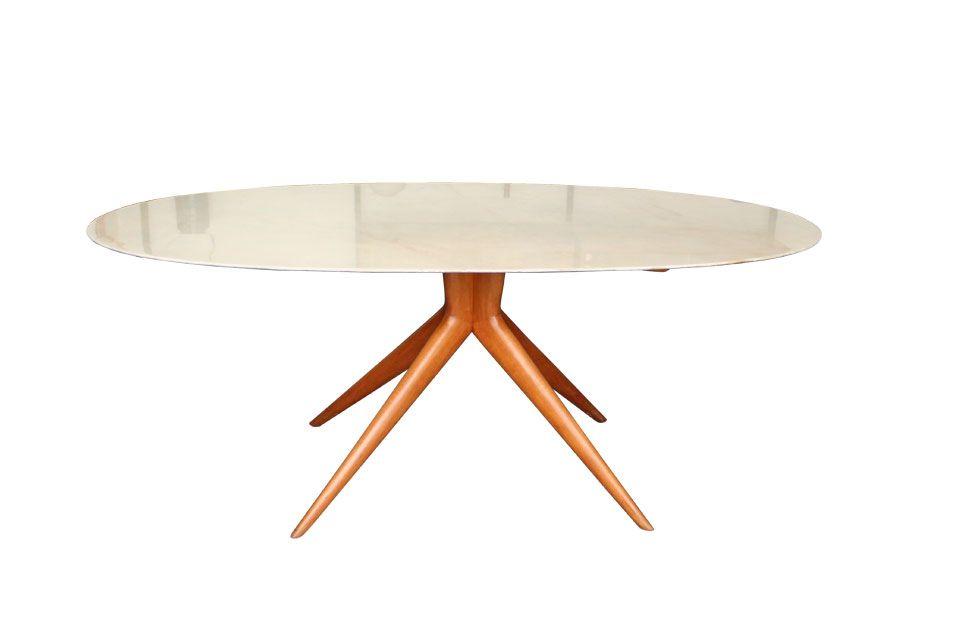 Table de salle manger ovale en marbre italie 1950s en for Salle a manger ovale