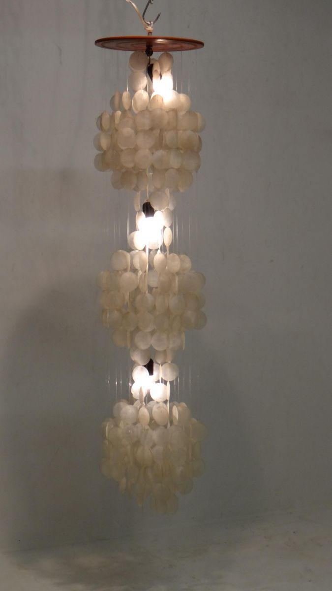Vintage Three-Tier Capiz Shell Chandelier for sale at Pamono