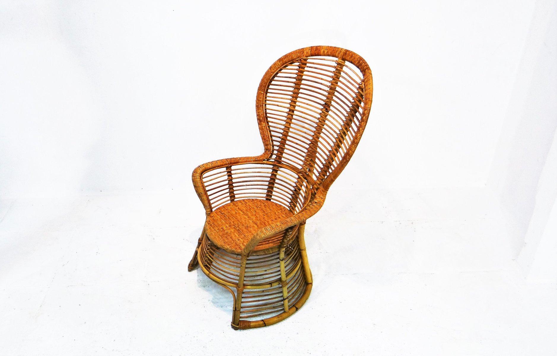 Vintage rattan sessel mit hoher r ckenlehne bei pamono kaufen for Sessel mit hoher lehne