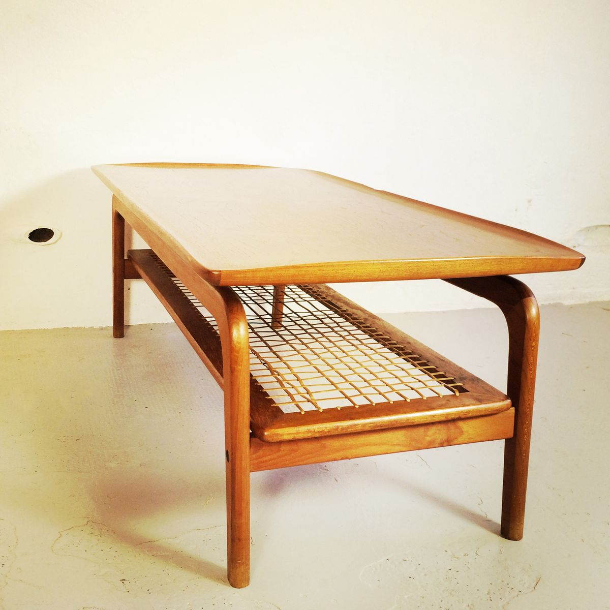 scandinavian coffee table with rattan shelf for sale at pamono
