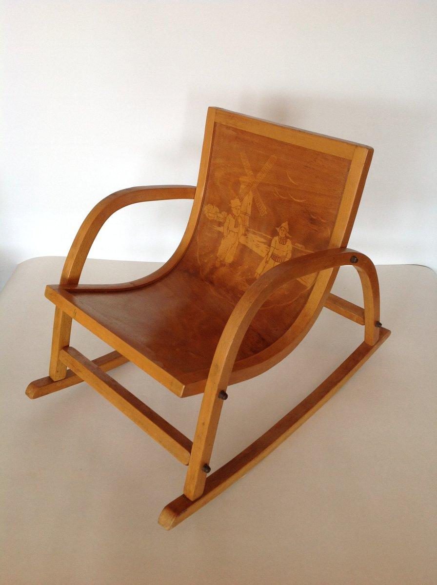 Plywood rocking chair - Vintage Children S Birch Rocking Chair 1930s
