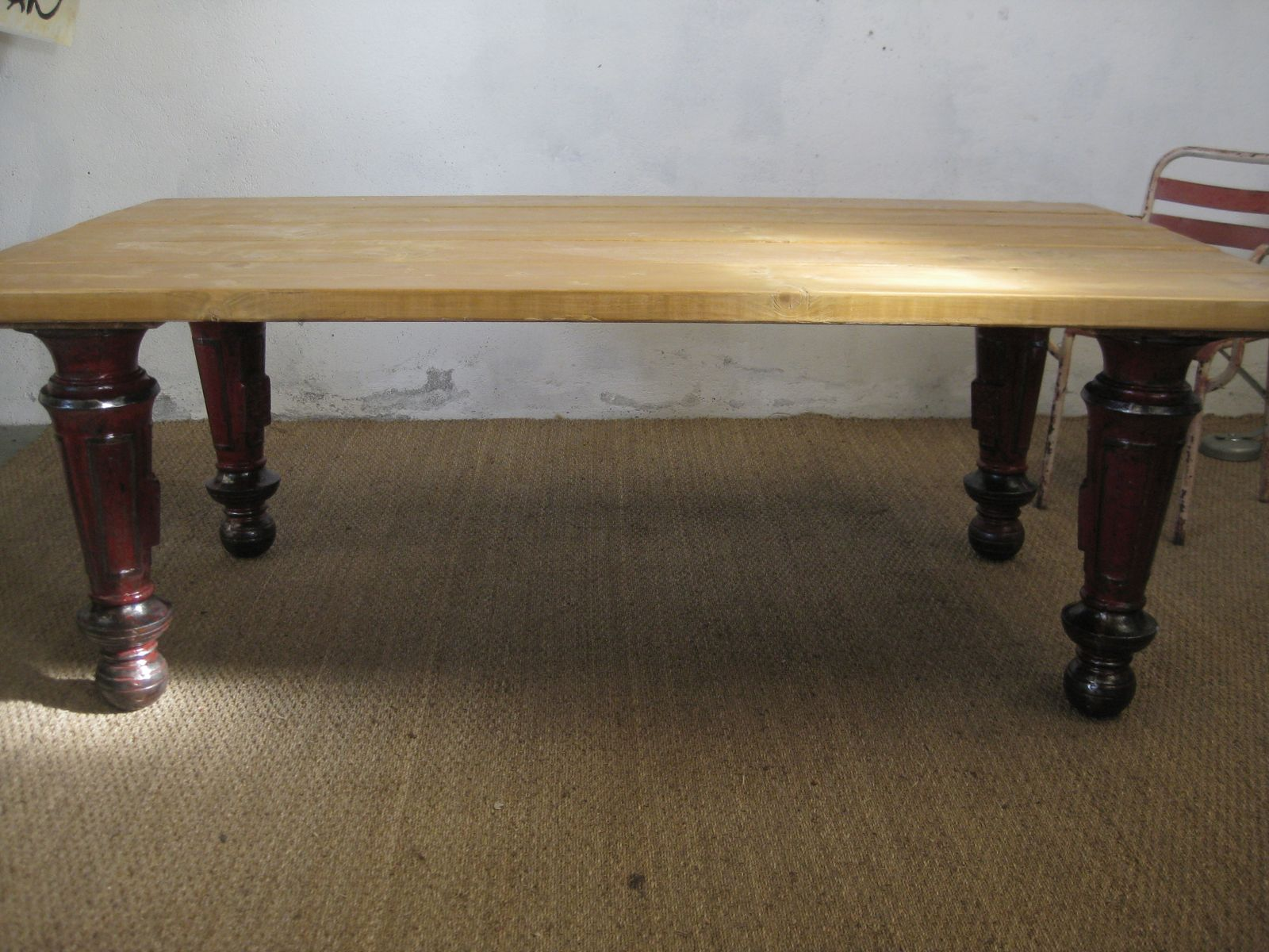 French industrial wooden table with cast iron legs 1960s for Wooden table legs for sale