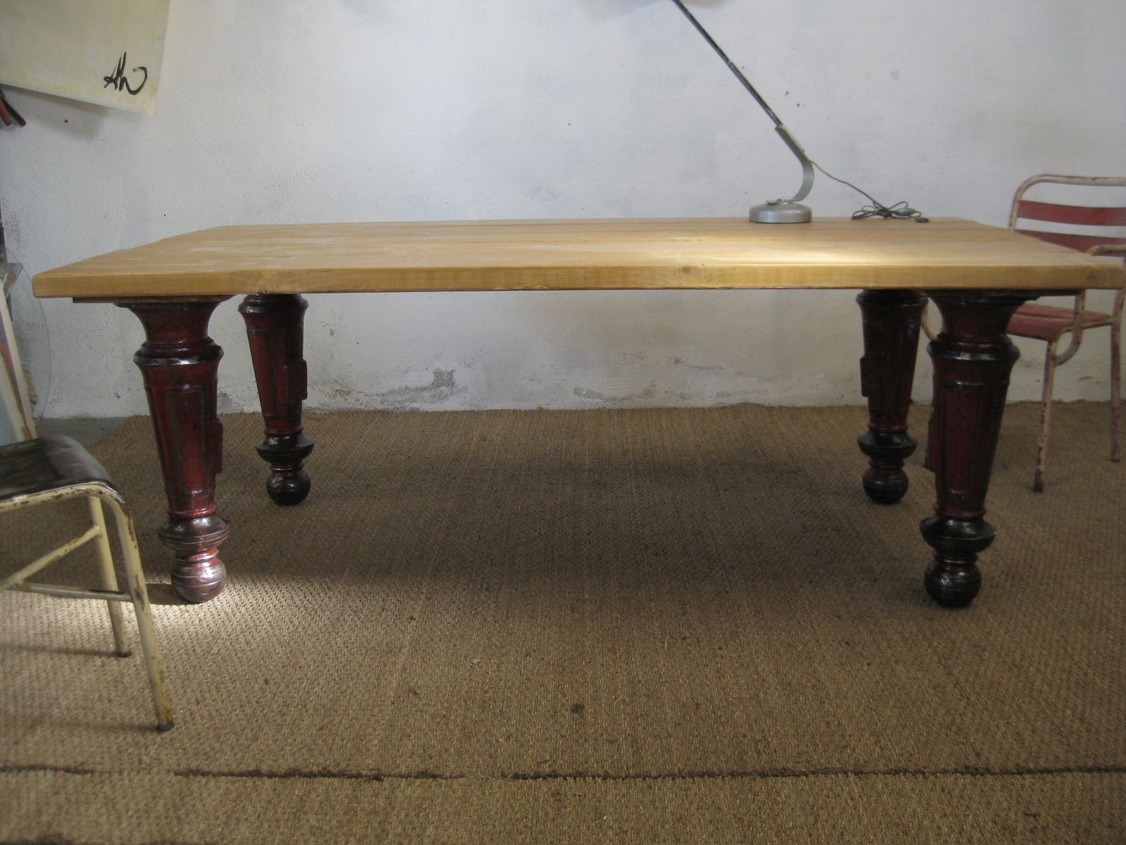 French industrial wooden table with cast iron legs 1960s for Wood table iron legs