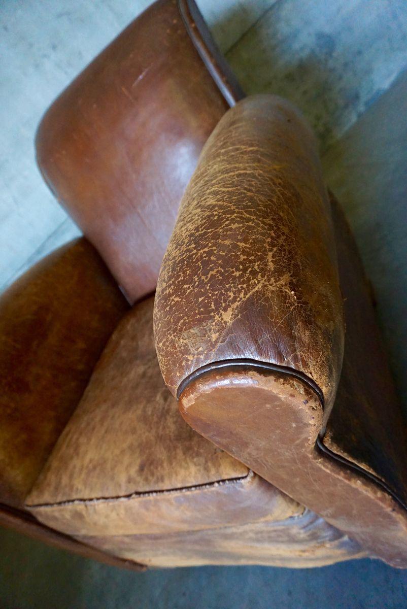 Fauteuil club art d co en cuir cognac france 1930s en for Fauteuil club art deco