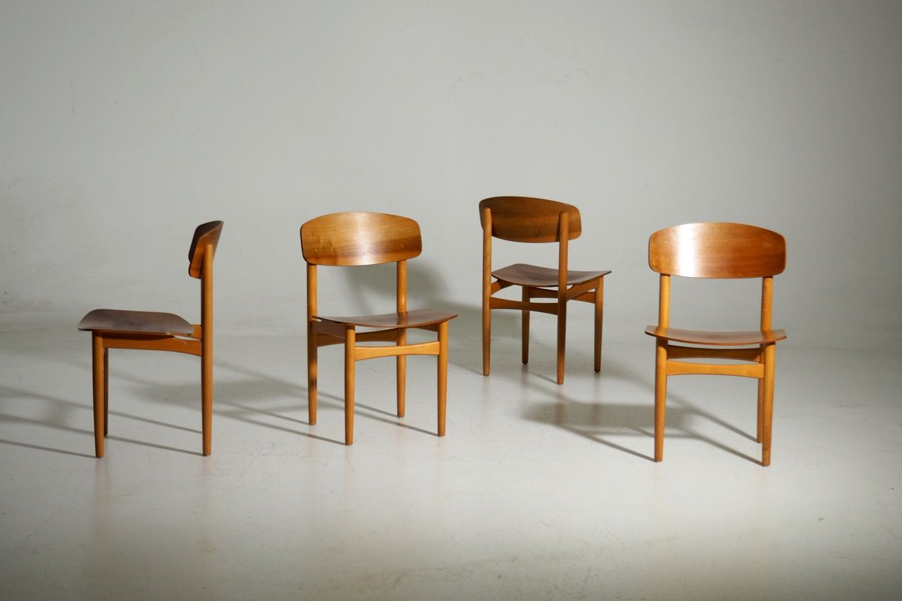 model 122 teak dining chairs by b rge mogensen for s borg. Black Bedroom Furniture Sets. Home Design Ideas