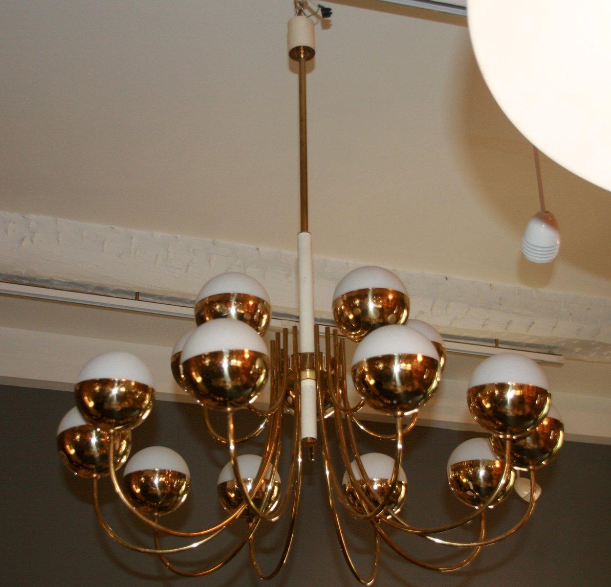 italienischer kronleuchter aus glas vergoldetem messing vom stilnovo 1970er bei pamono kaufen. Black Bedroom Furniture Sets. Home Design Ideas