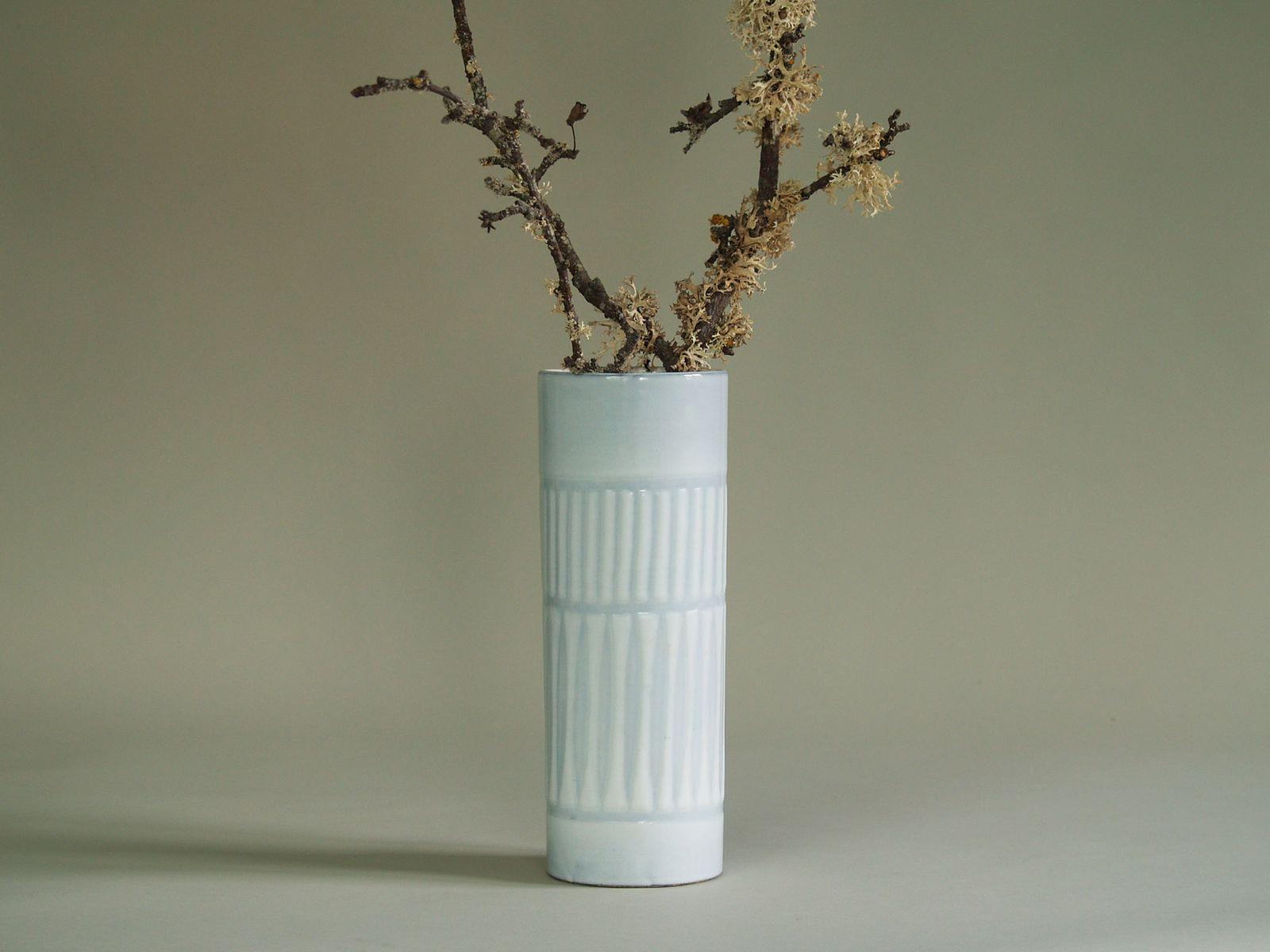vase cylindrique par roger capron france 1955 en vente sur pamono. Black Bedroom Furniture Sets. Home Design Ideas